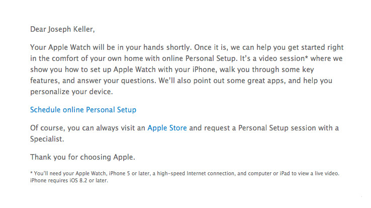 Apple inviting Apple Watch owners to schedule personal video setup sessions