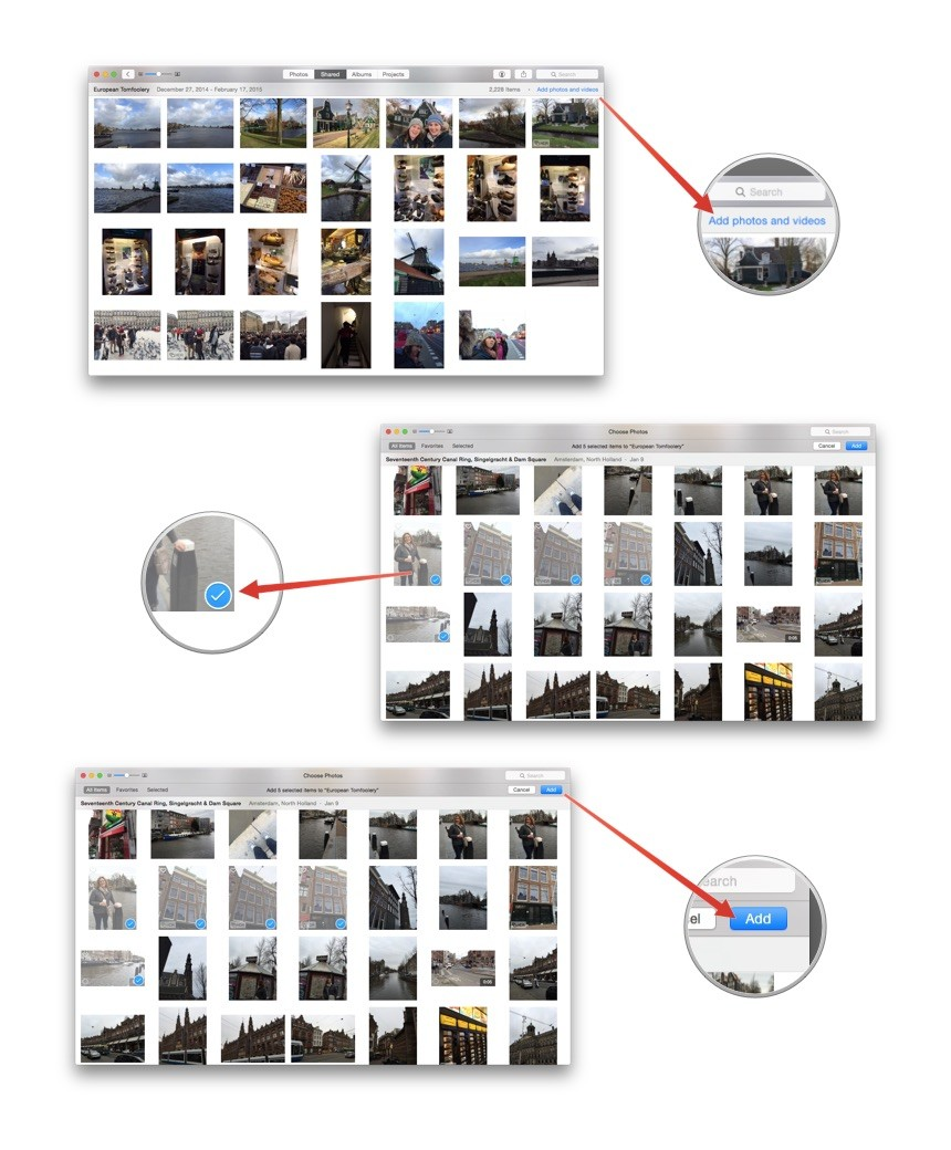 How to add photos to iCloud Photo Sharing in Photos for OS X