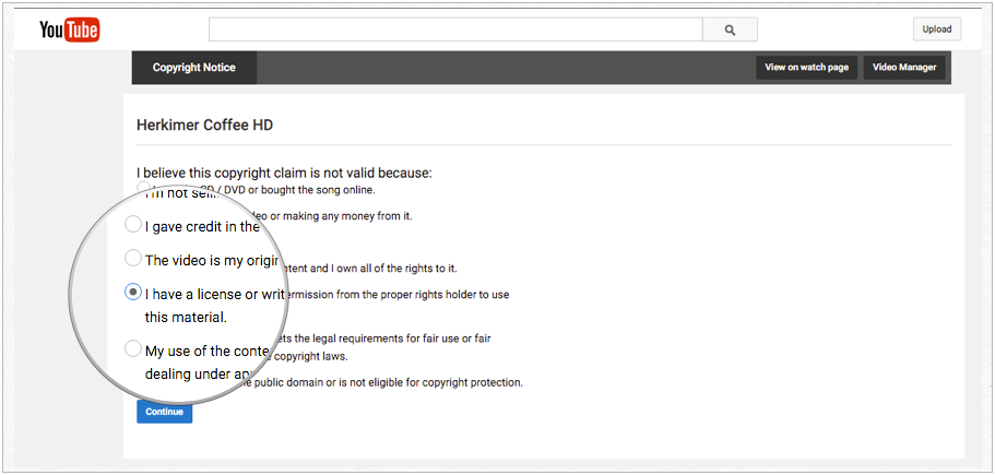 how to get written permission for youtube