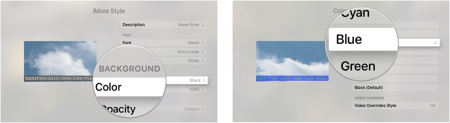 Choosing background color for closed captions on Apple TV