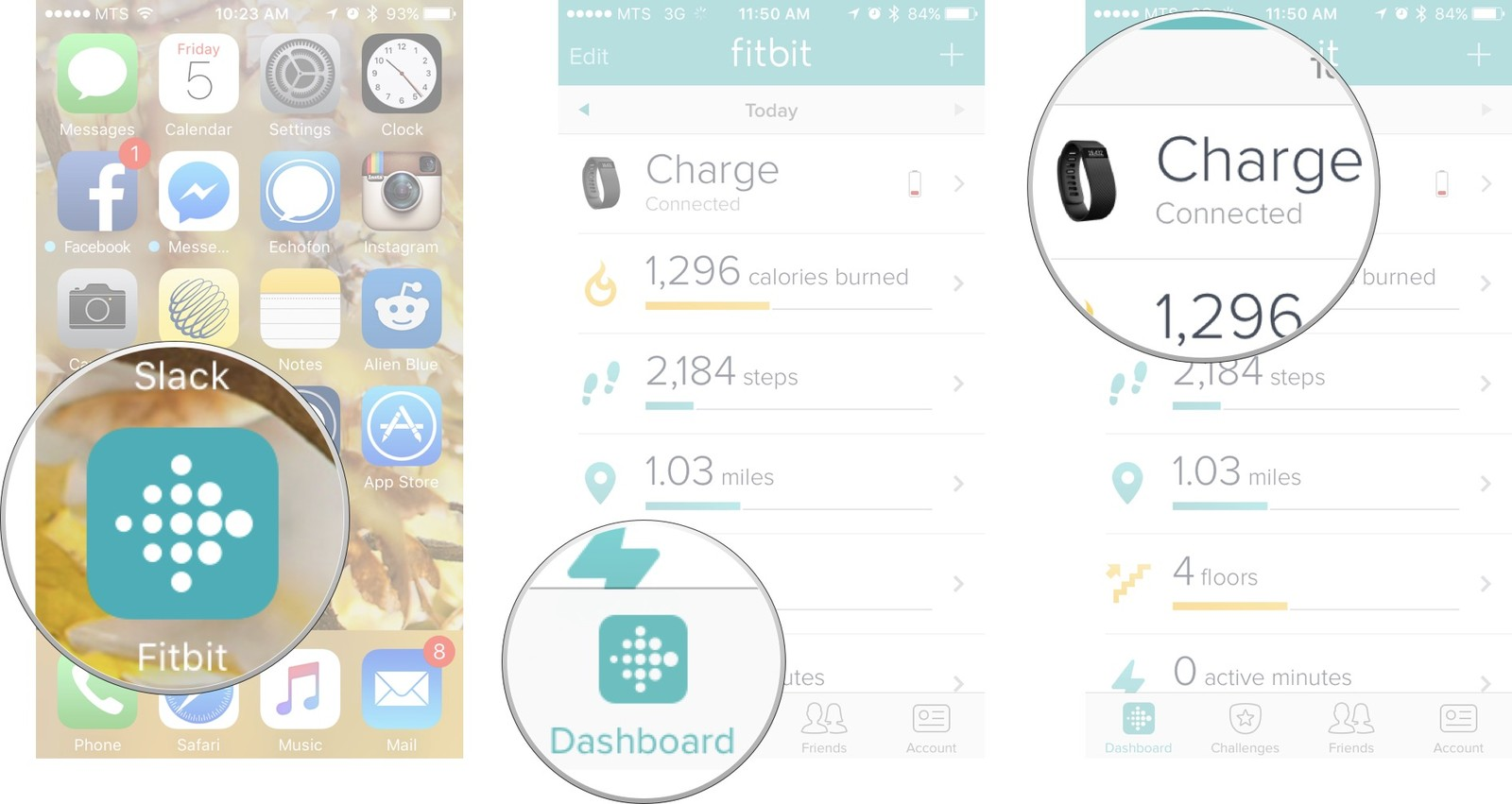 Launch Fitbit from your Home screen, tap on the dashboard tab, and then tap on the paired device you want to customize.