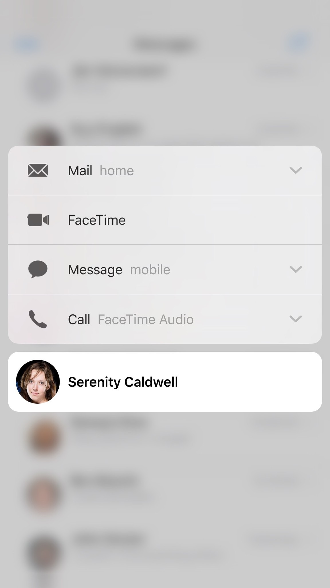 3D Touch on a profile pic to get contact details