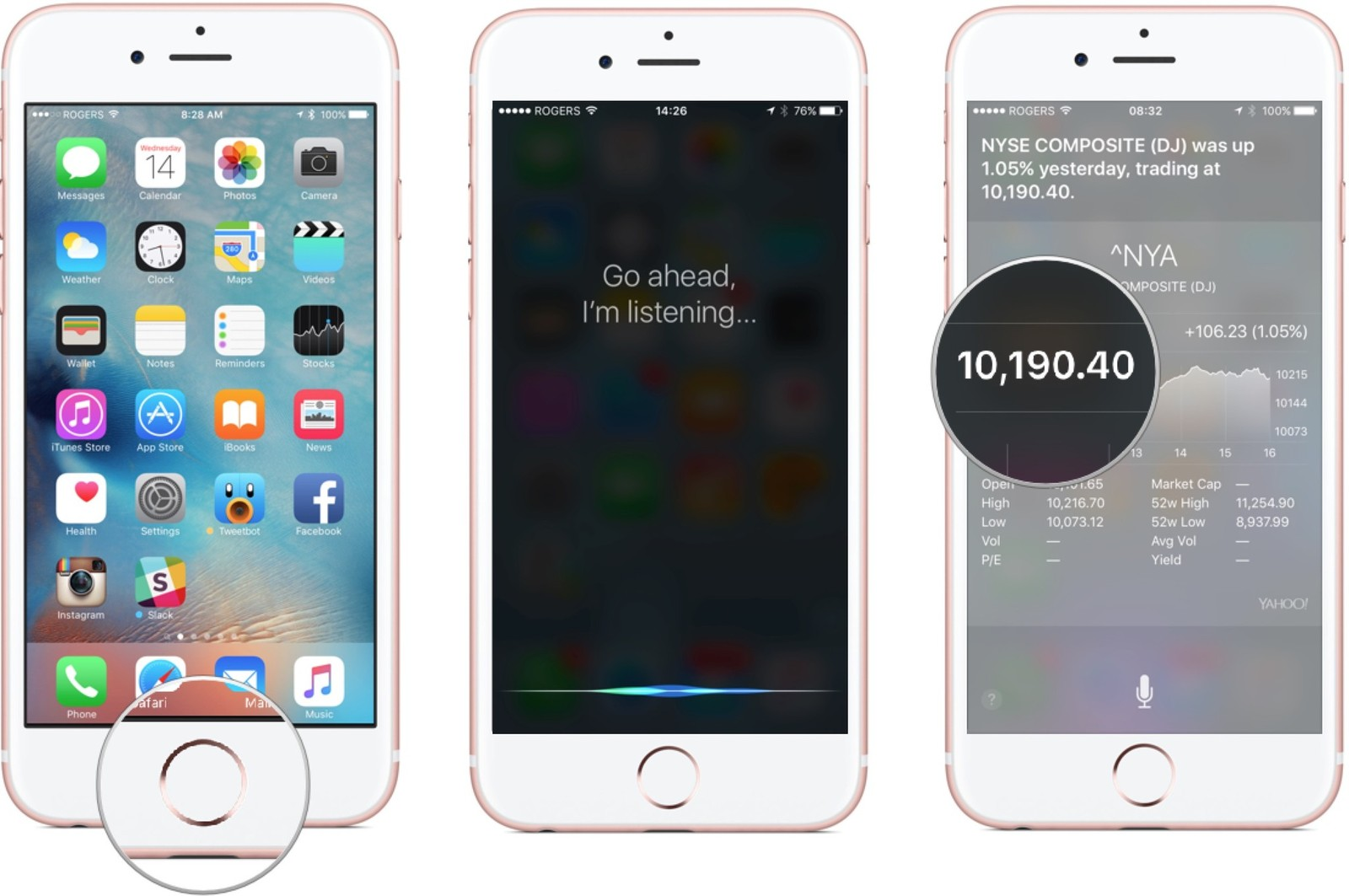 Hold down the Home button, ask Siri about the market, tap on the widget to go to the app.