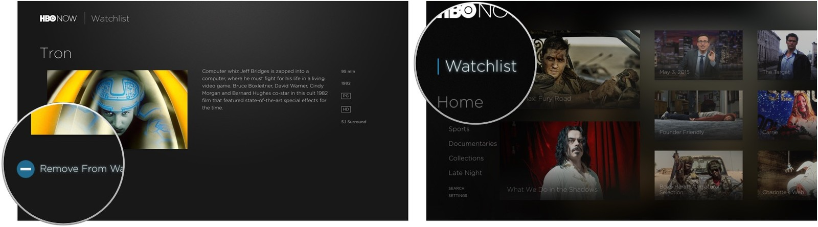 The watchlist in HBO Now on Apple TV