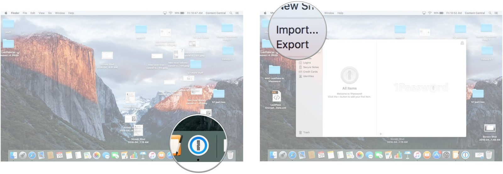 Click on 1Password. Click on File and click on Import.