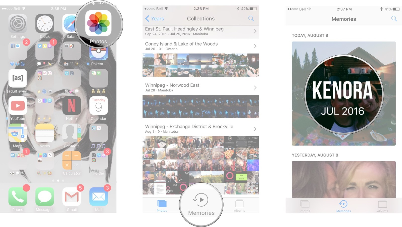 Launch the Photos app from your home screen, tap Memories and select the memory you would like to see.