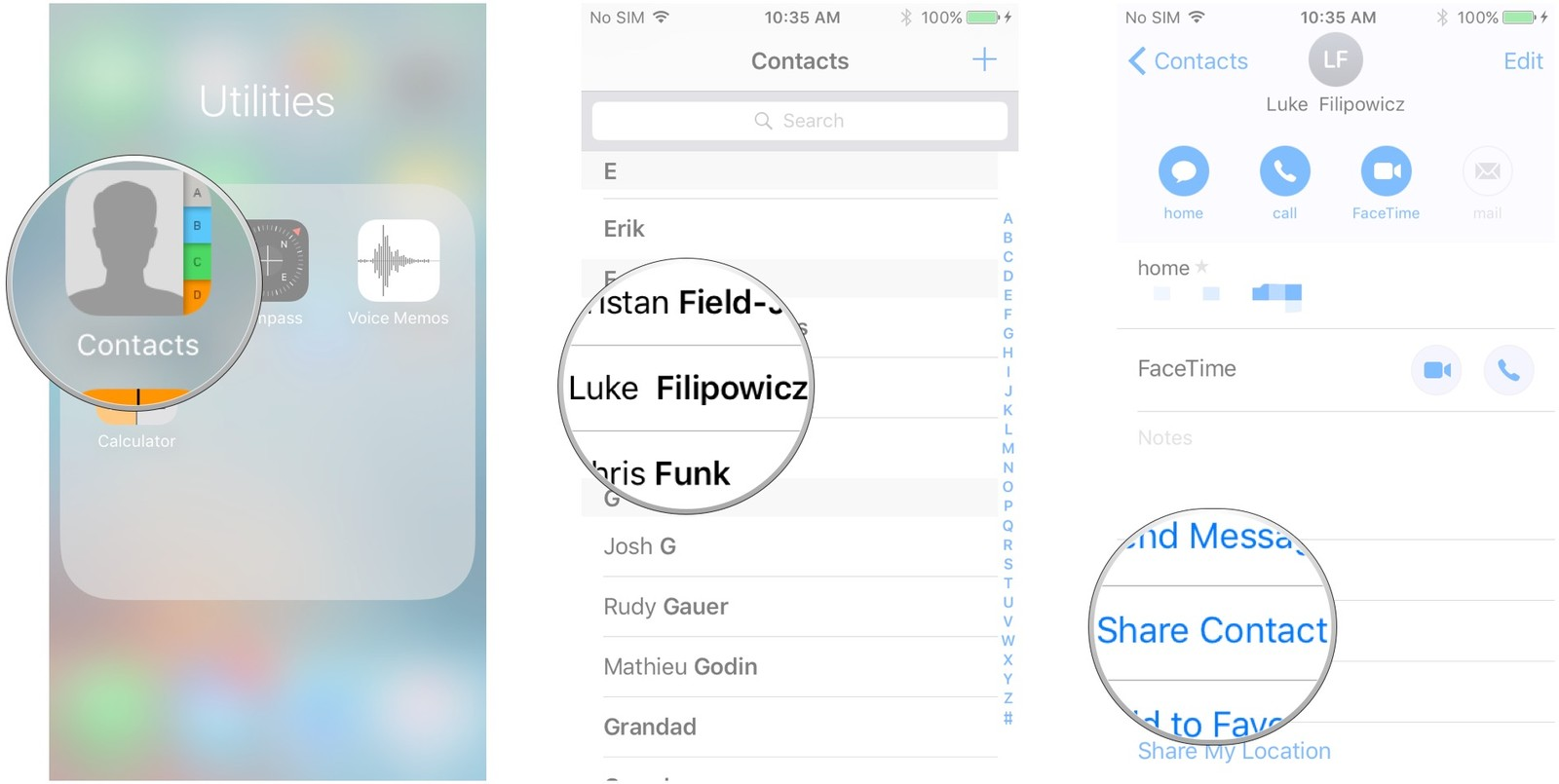 Launch Contacts, tap the contact, tap Share Contact