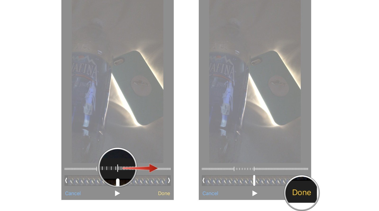 Drag the sliders on either side to the points where you want the video to ease into our out of slo-mo, then tap done when you have the sliders where you want them.