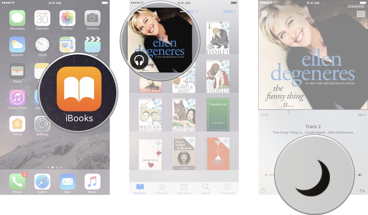 Launch iBooks, tap on the audio book you want to play, and then tap on the Sleep button.