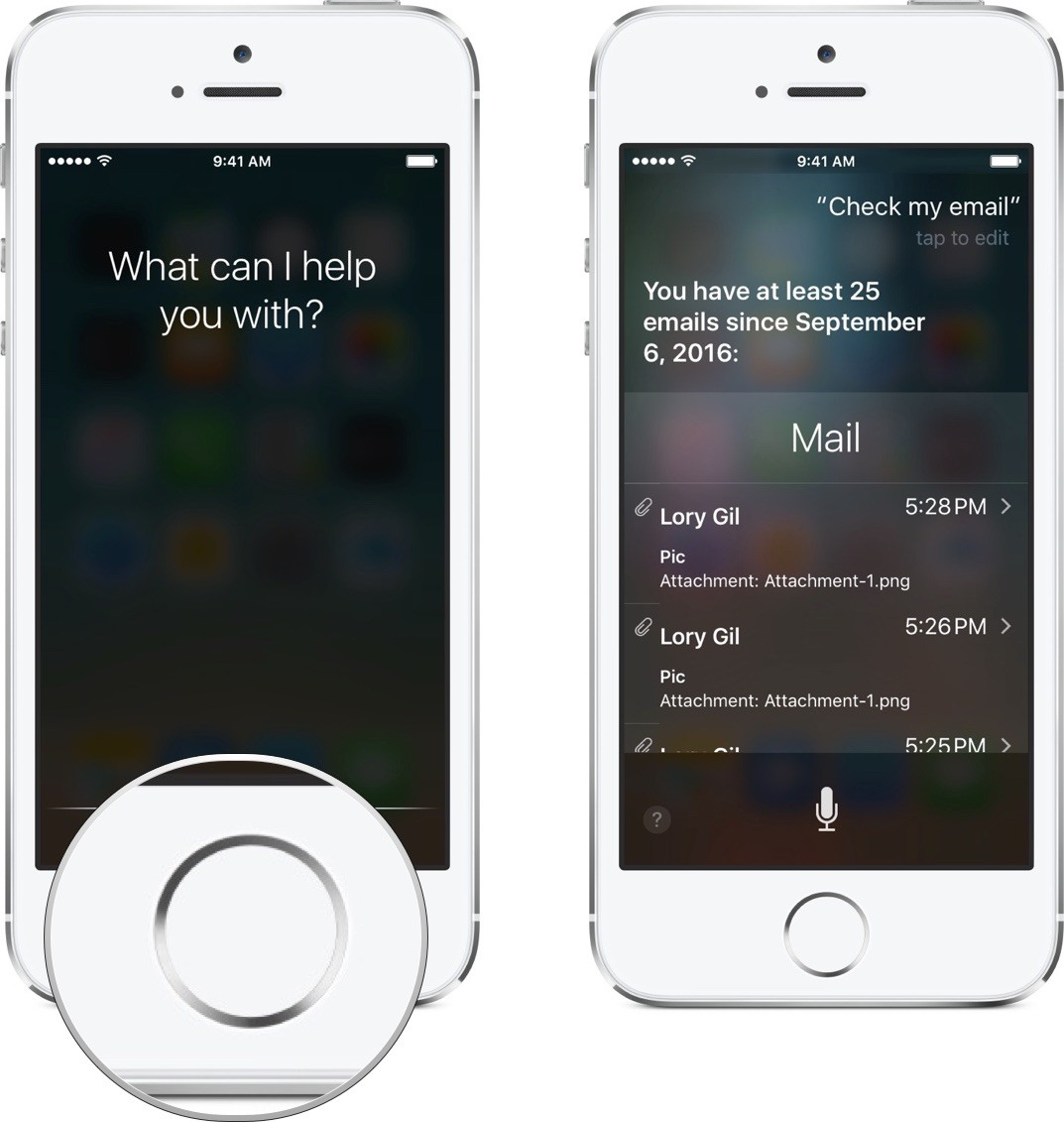 Ask Siri t check your email