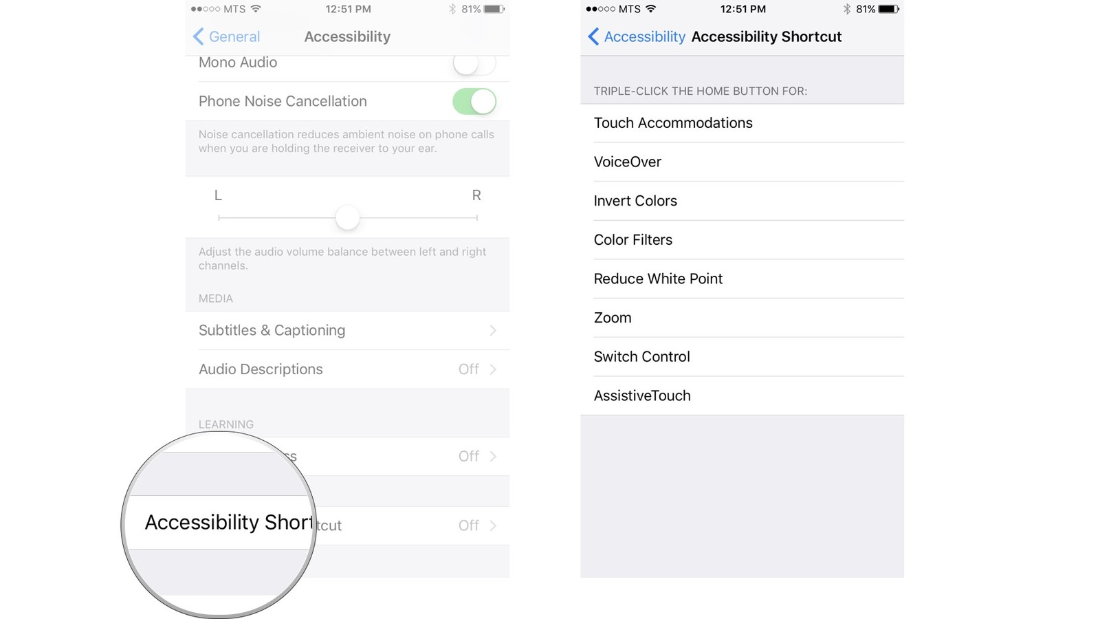 Tap Accessibility Shortcut, tap the action you want to perform when you triple-click