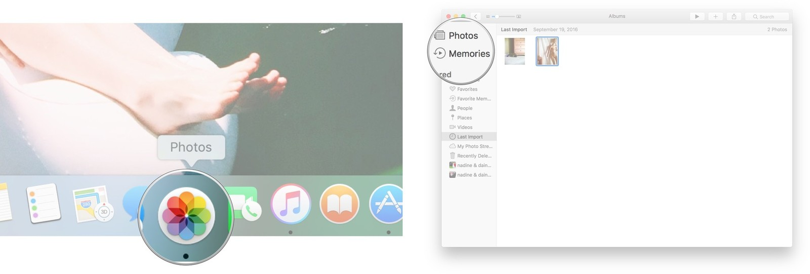 Launch the Photos app and click Memories on the menu on the left of the screen.