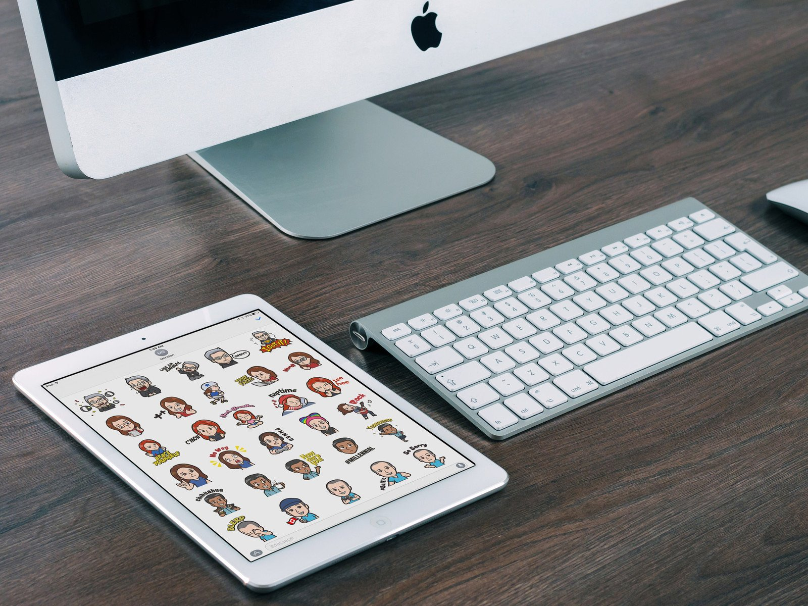 iMore Sticker Pack on an iPad sitting on a desk.