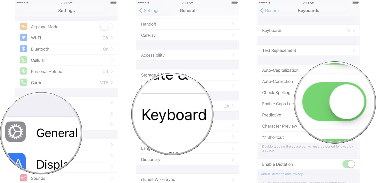 Launch the Settings app, tap General, tap Keyboard, and then tap on the on/off switch.