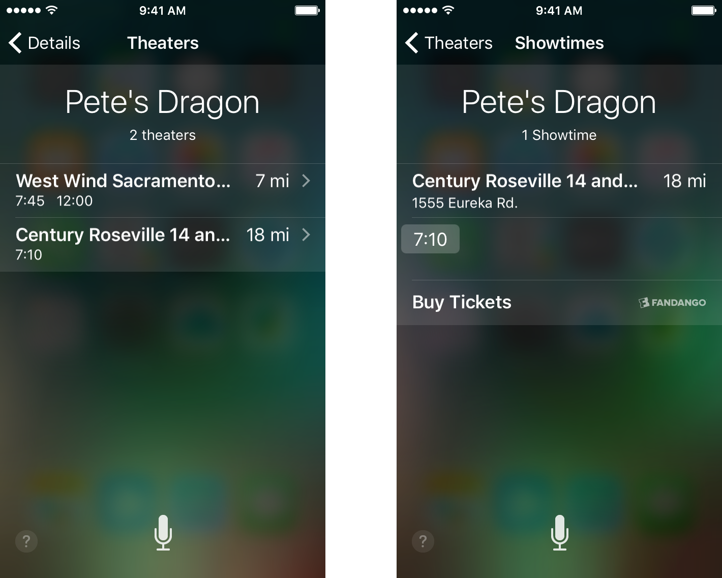 Buying Movie Tickets with Siri and Fandango