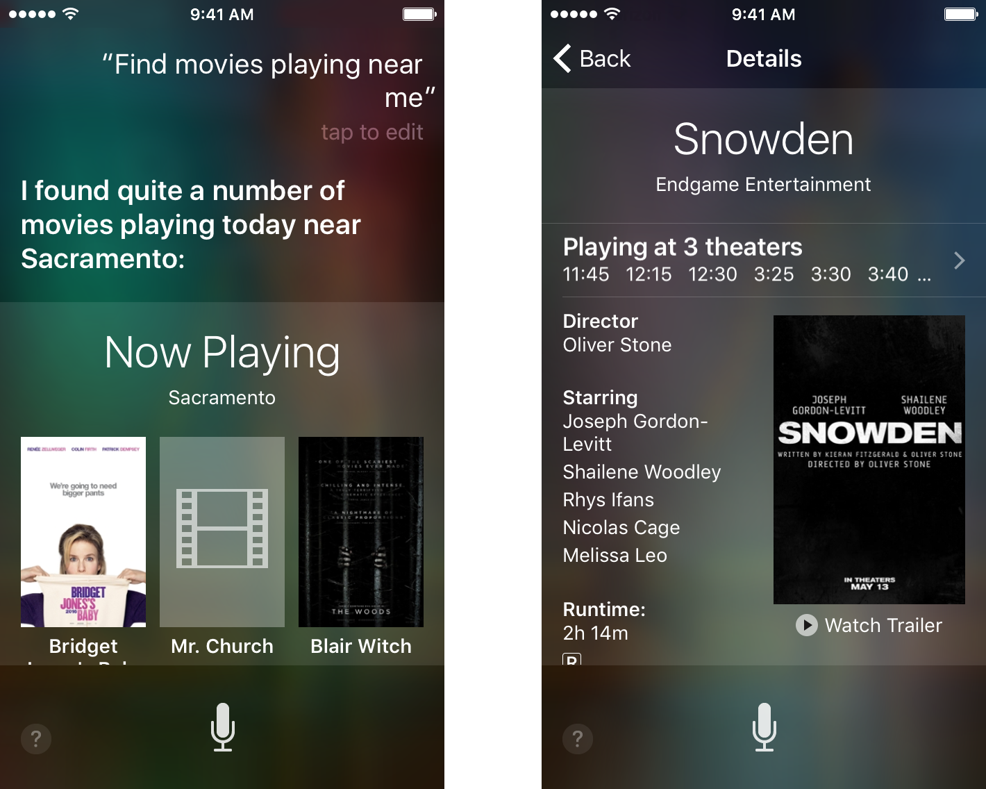 Ask Siri what movies are playing nearby