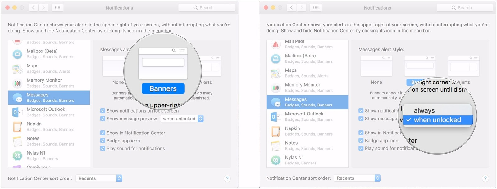 Choose alert style, choose message preview settings