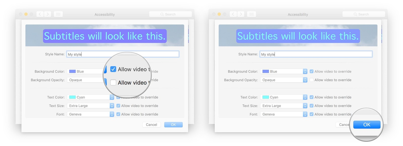 Click the checkbox to allow video to override the setting, click OK when finished
