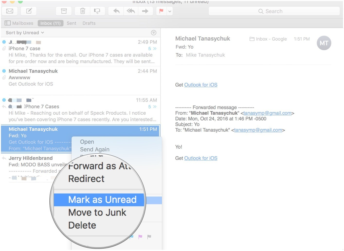 How to setup email in iphone select all unread emails in outlook