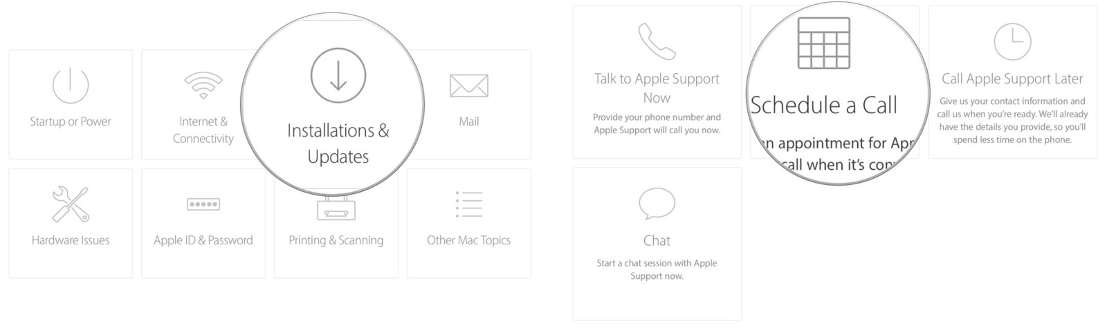 Select a subtopic, then select a way to contact Apple