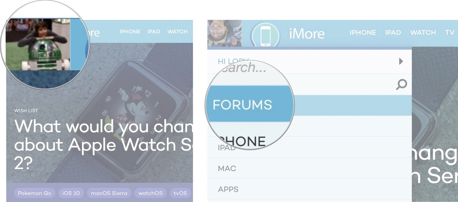 Click on your avatar on iMore, then select Forums