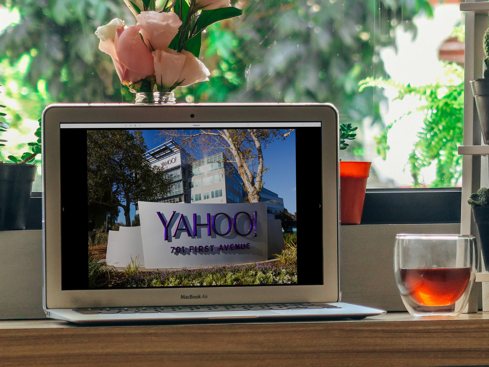 Yahoo!'s Headquarters are shown on a Macbook Air.