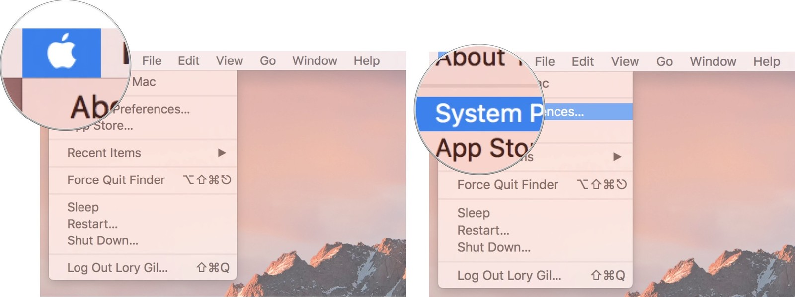 Click on the Apple menu logo, then click on System Preferences