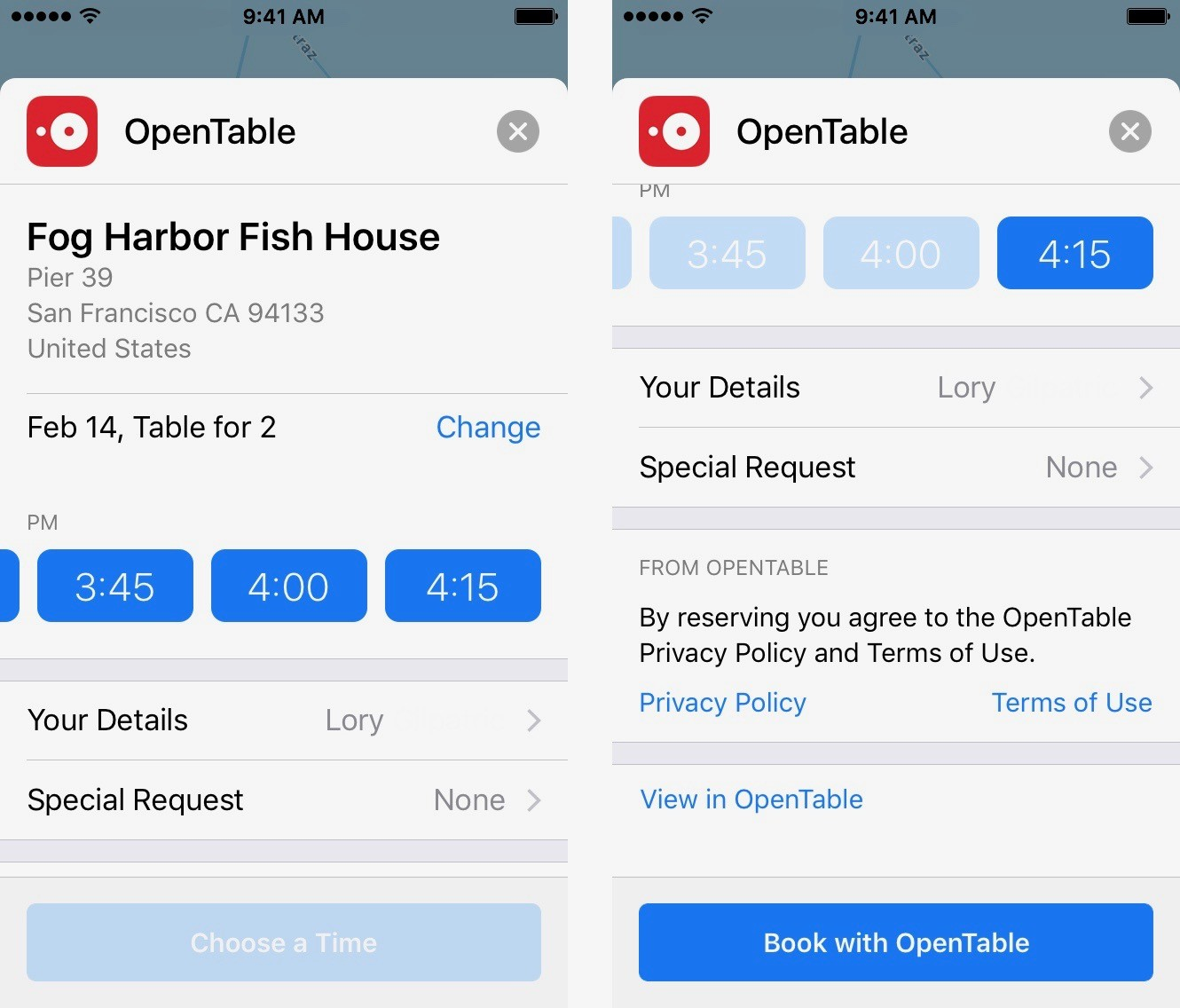 pick a time, tap Book with OpenTable