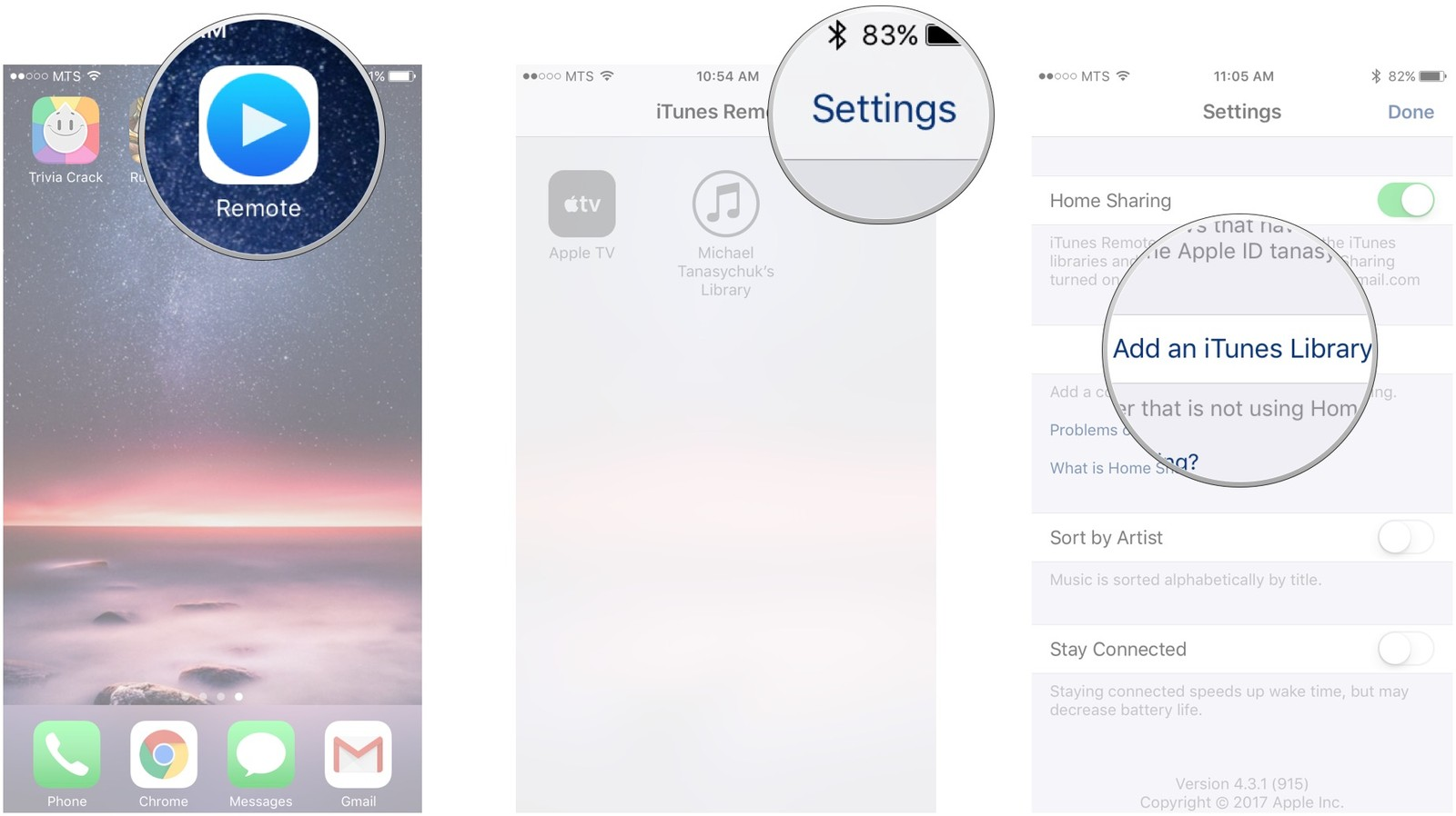 Launch Remote, tap Settings, tap Add an iTunes Library