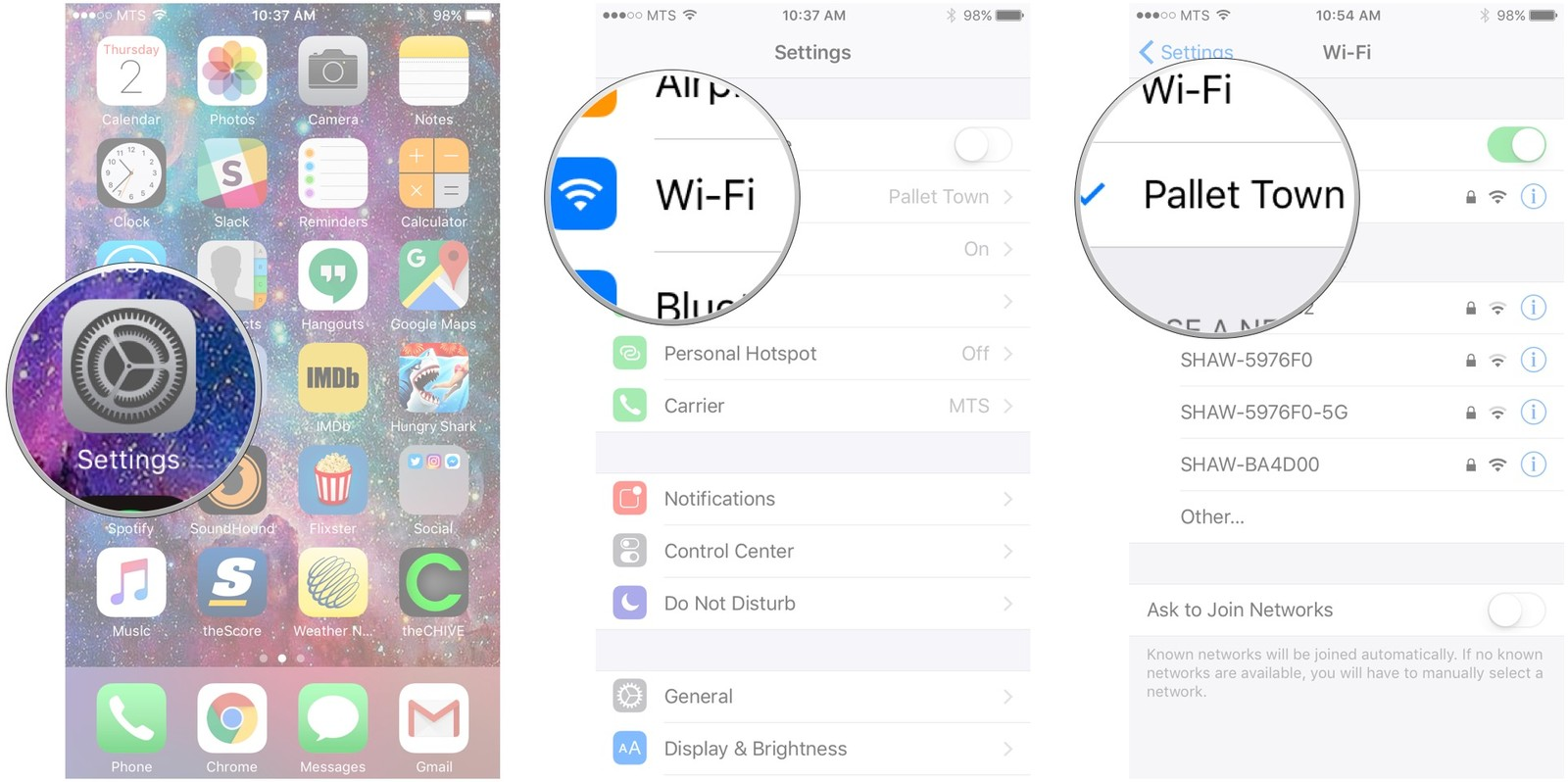 Launch Settings, tap Wi-Fi, tap your network