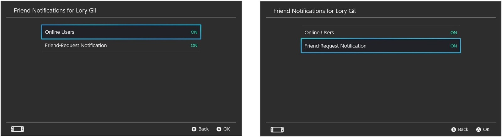 Select Online Users, then select Friend Request Notification