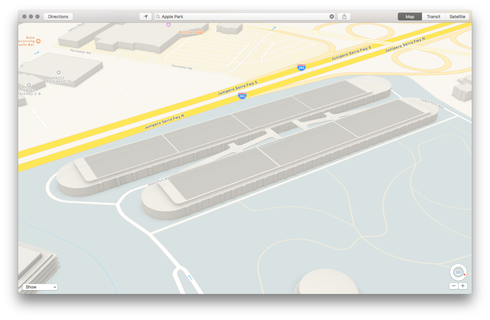 3D renderings of the new Apple Park campus in Apple Maps
