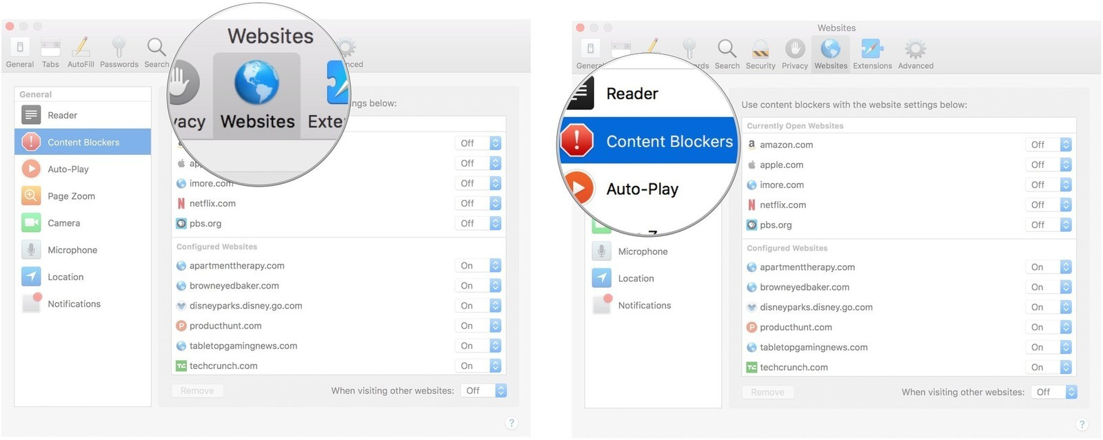 Select Websites, then Content Blockers