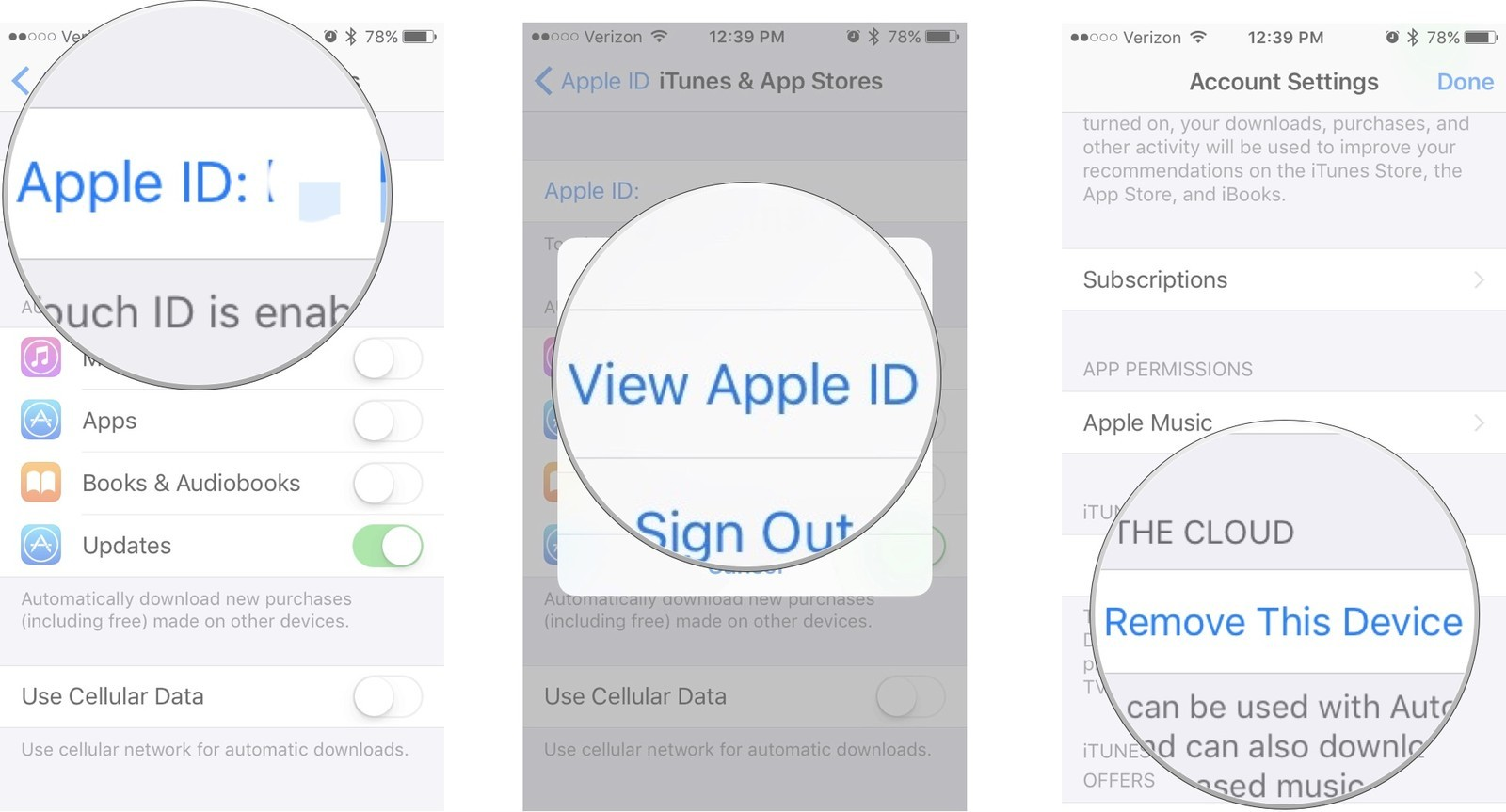 Tap your Apple ID, then tap View Apple ID, then tap Remove This Device