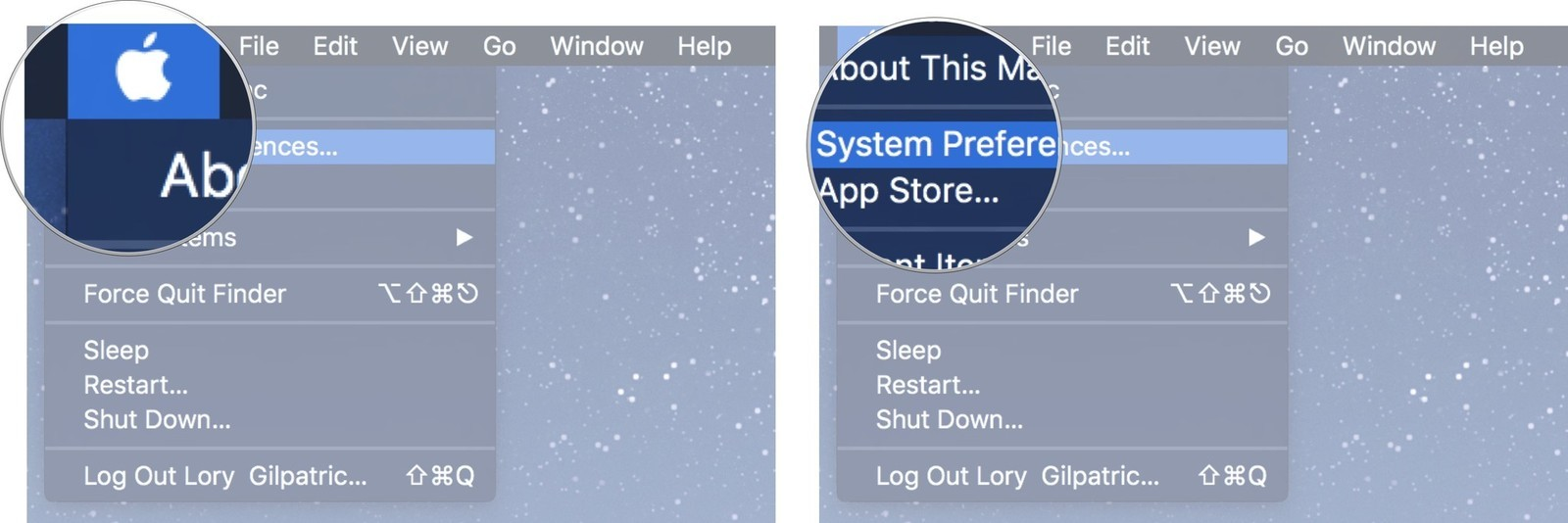 Click on the Apple menu icon, then click on System Preferences