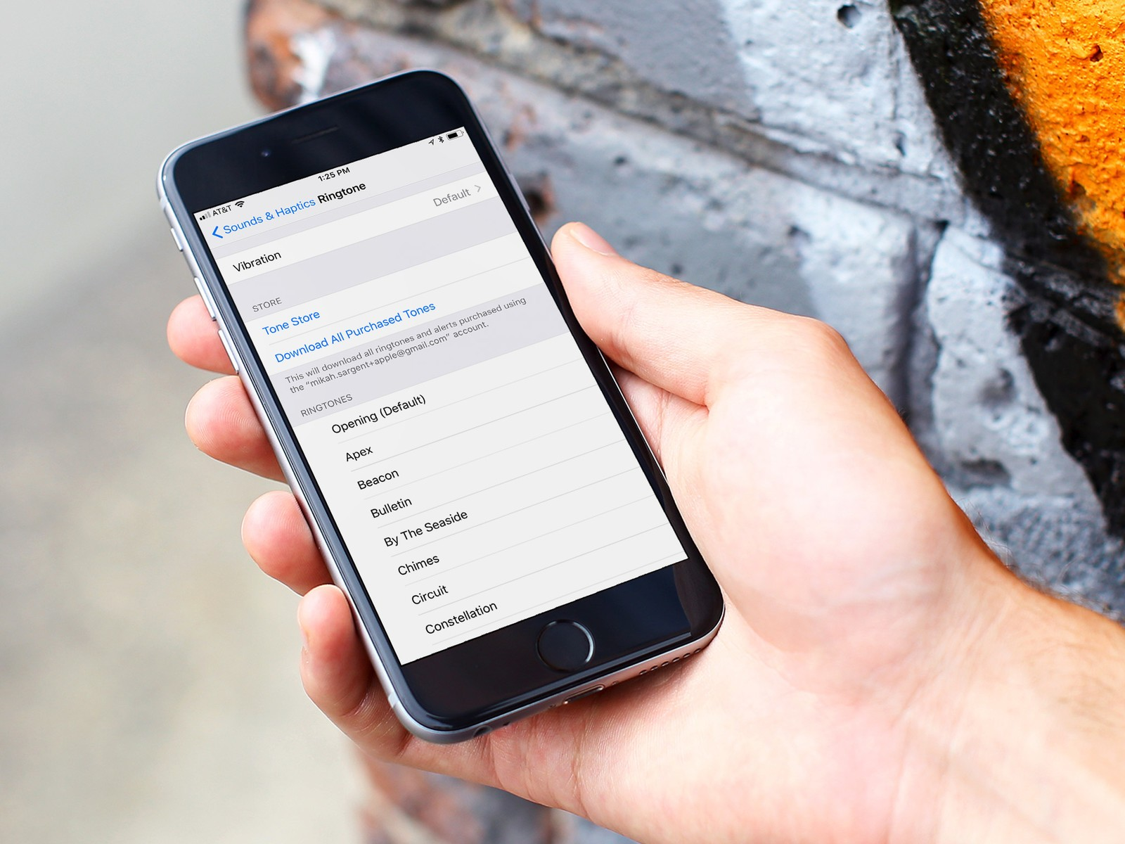 An iPhone is shown with the Sounds & Haptics settings on screen.
