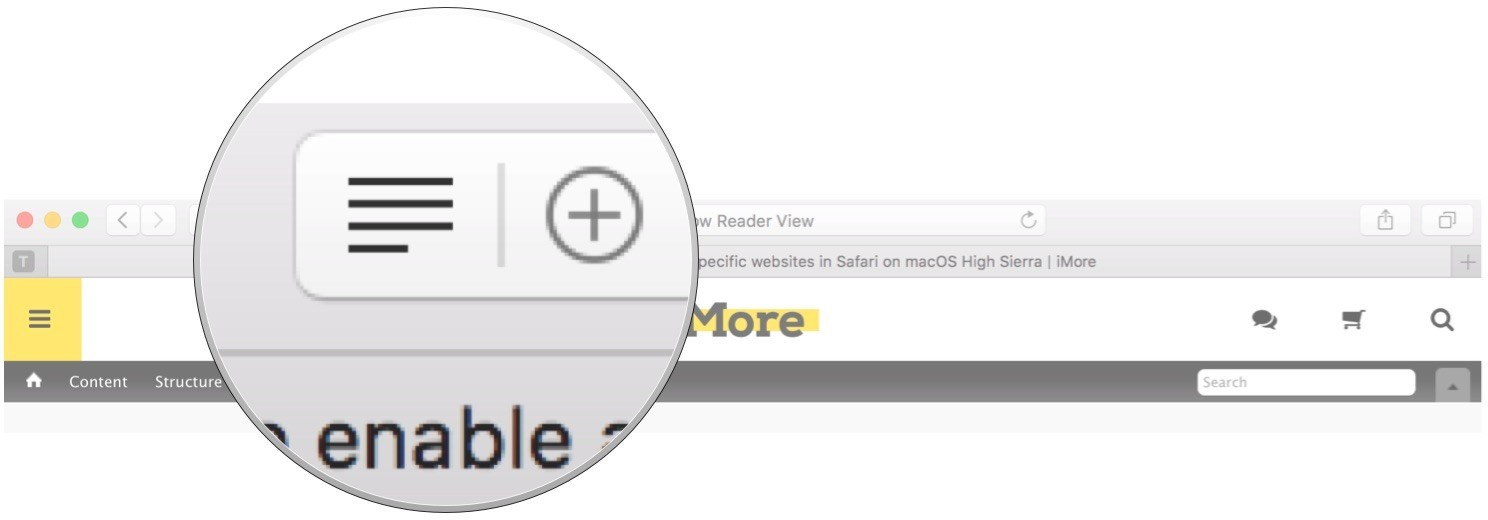 Click on the Reader View button in the URL text field
