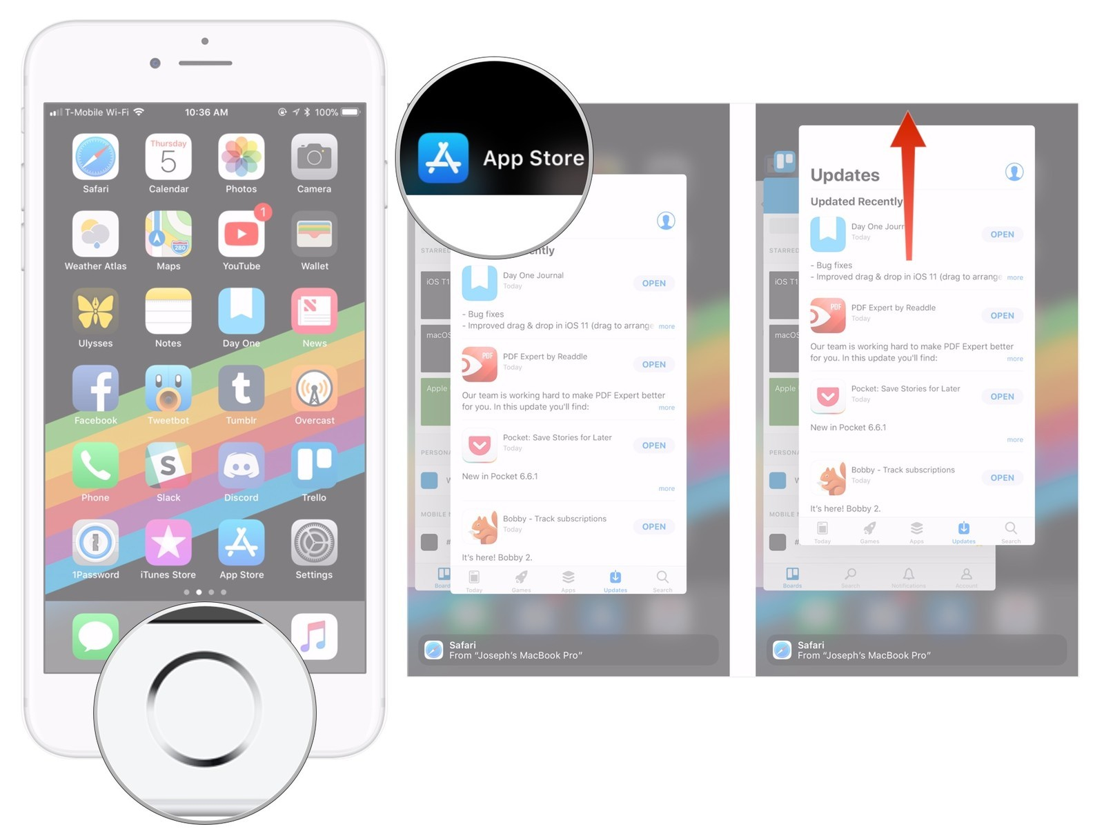 Double Click Home Button, Find App, Swipe Up On App
