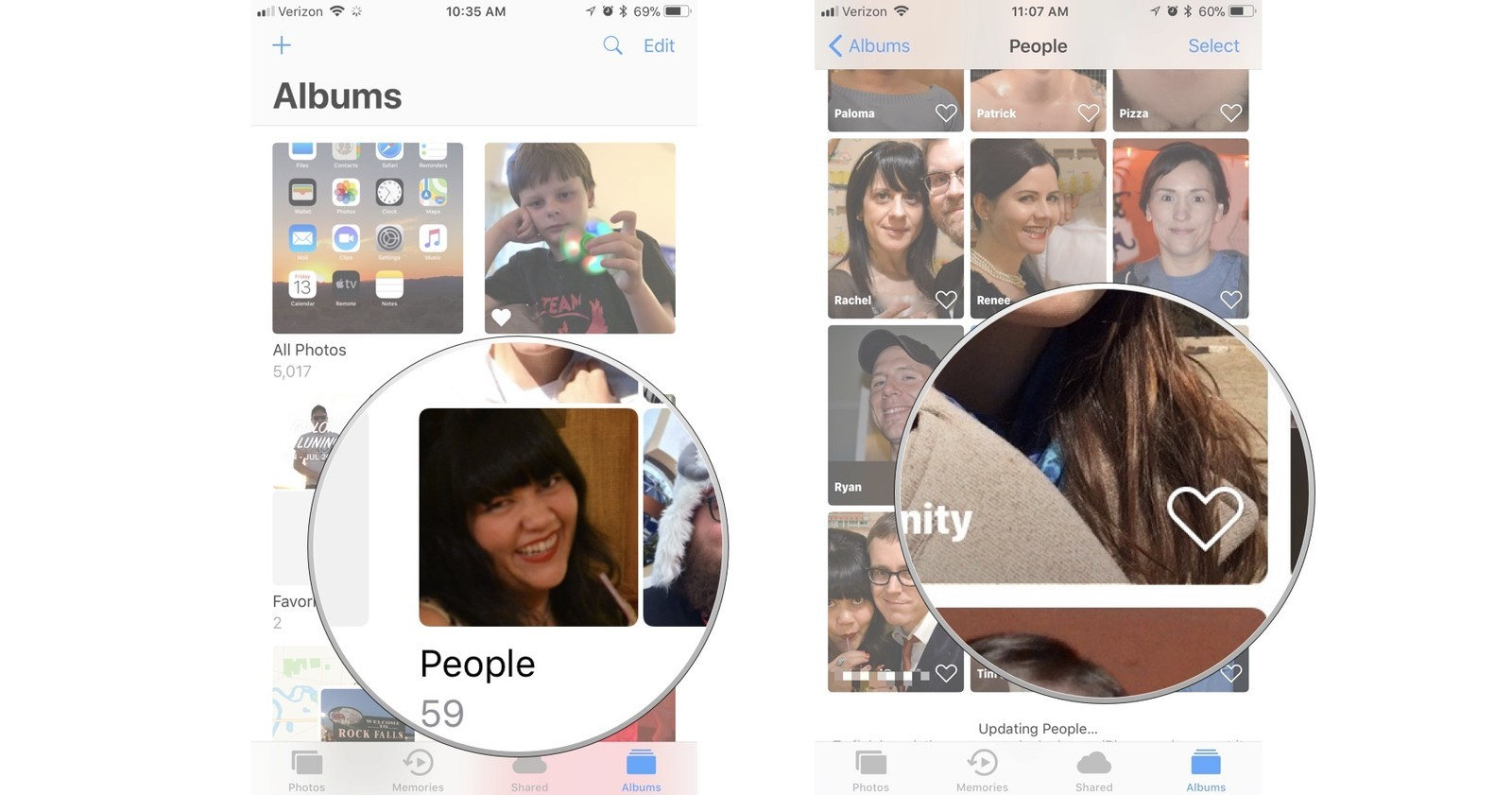 Tap people, then tap the heart next to a profile