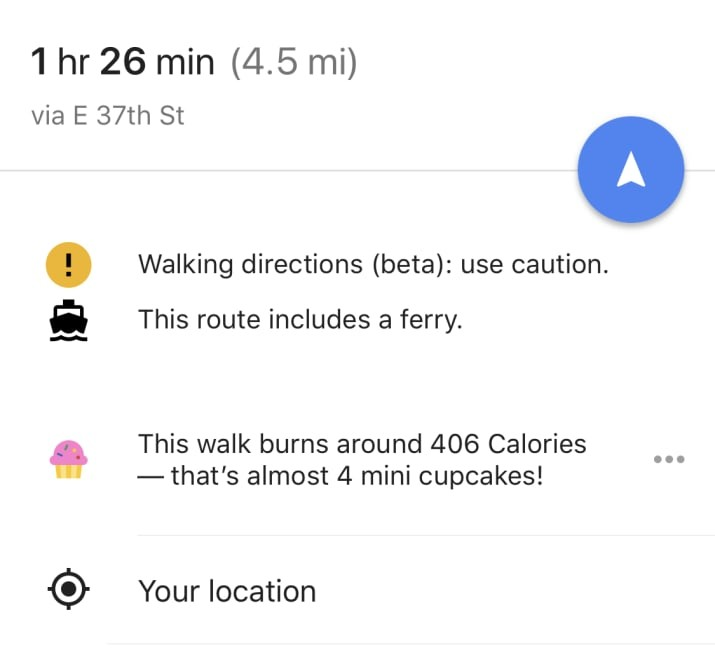 A screenshot of Google Maps showing that 408 calories would translate into almost four mini cupcakes