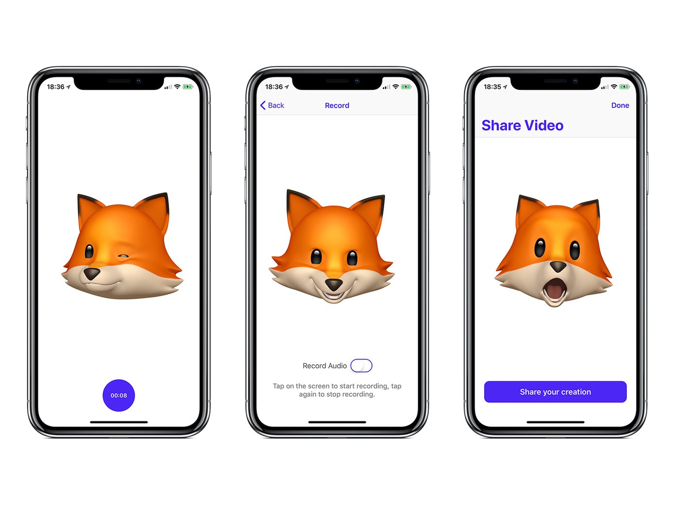 Three iPhone Xs with AnimojiStudio pulled up on the screen. On the first phone, there is an Anomoji of a fox winking. On the second phone, there's an Animoji of a fox making a mischievous face. On the third phone, there is an Animoji of a fox with its mouth open, as if it's singing.