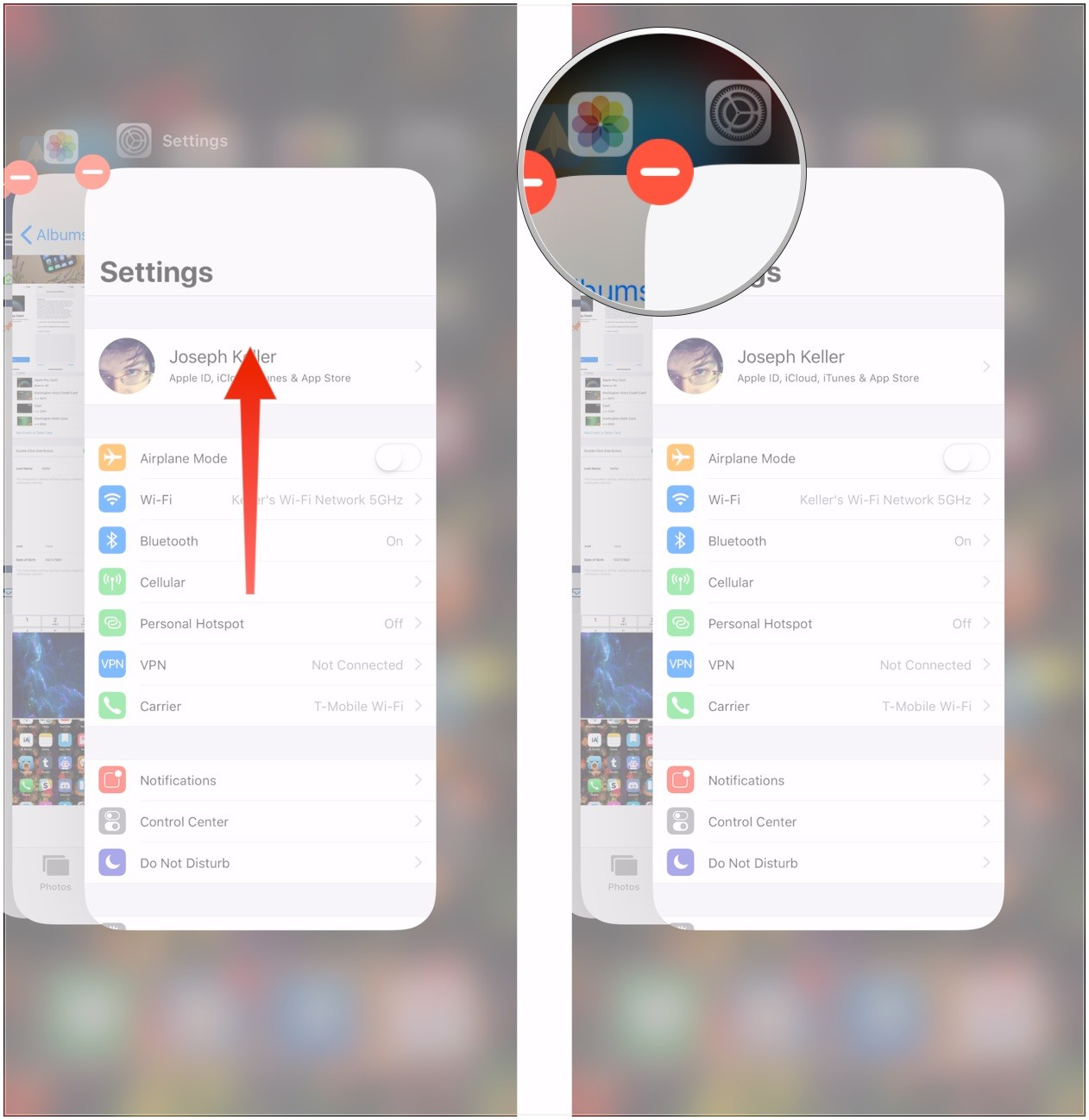 Flick app up or tap red circle