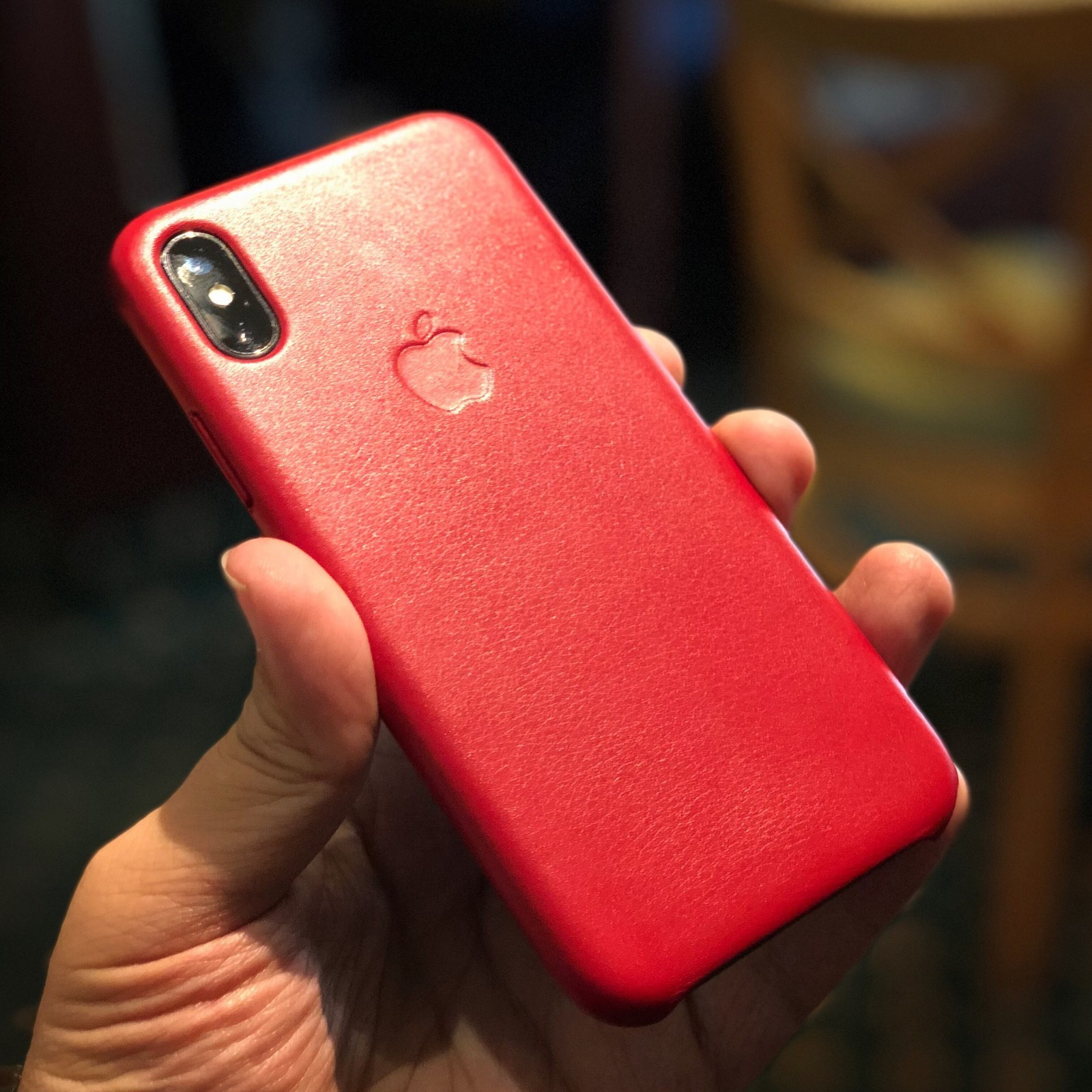 Apple iphone xr red leather case