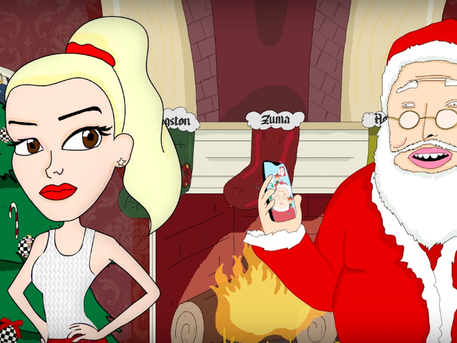 An animated Gwen Stefani and Santa Claus in front of a fireplace