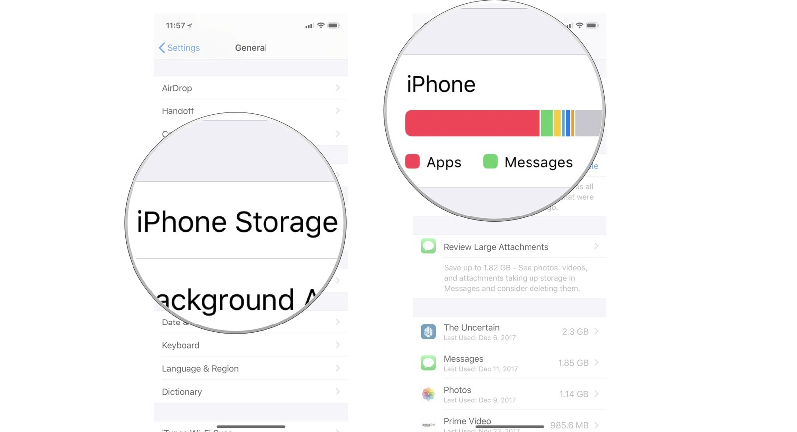 Checking your iPhone storage space showing the steps to Tap iPhone Storage