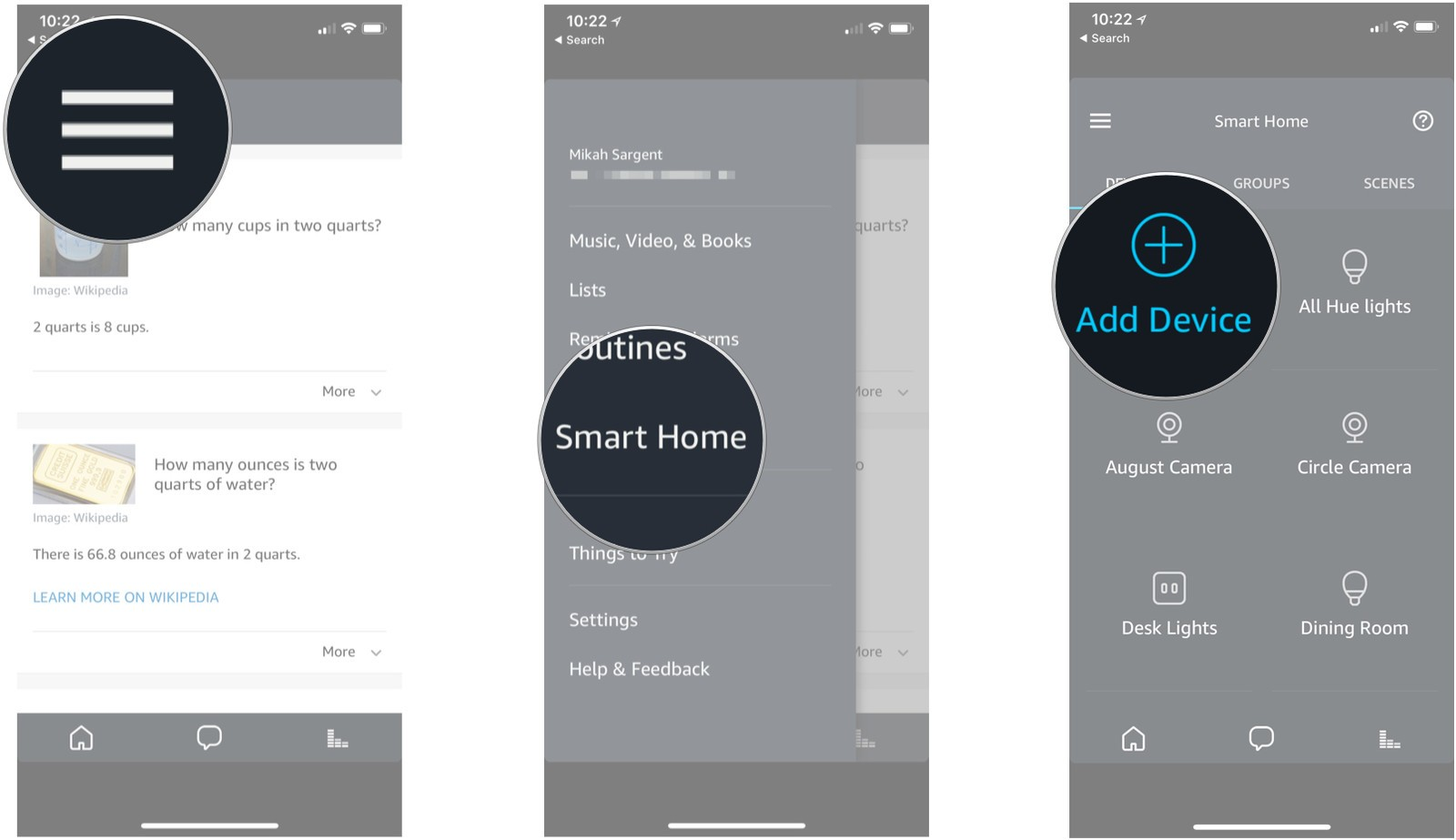 Tap The Menu Icon Then Smart Home Add Device