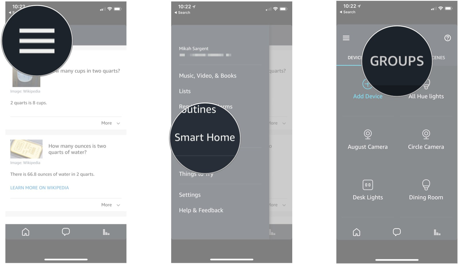 Tap the menu icon, then tap Smart Home, then tap Groups