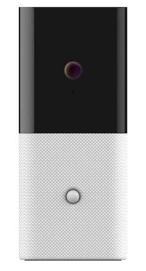 Front view of Abode's Iota, showcasing the HD camera's lens
