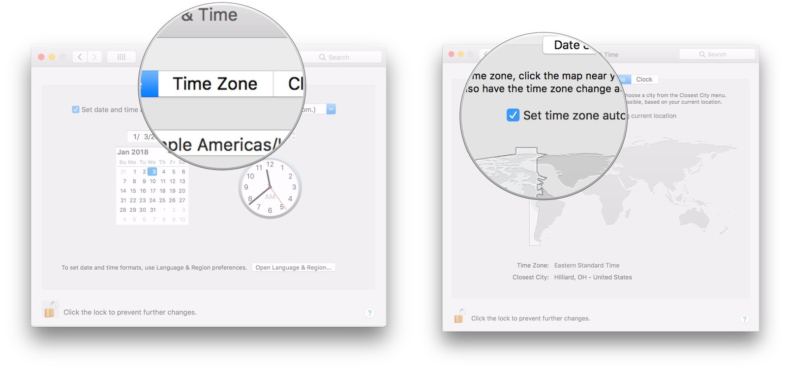 Click Time Zone, uncheck box