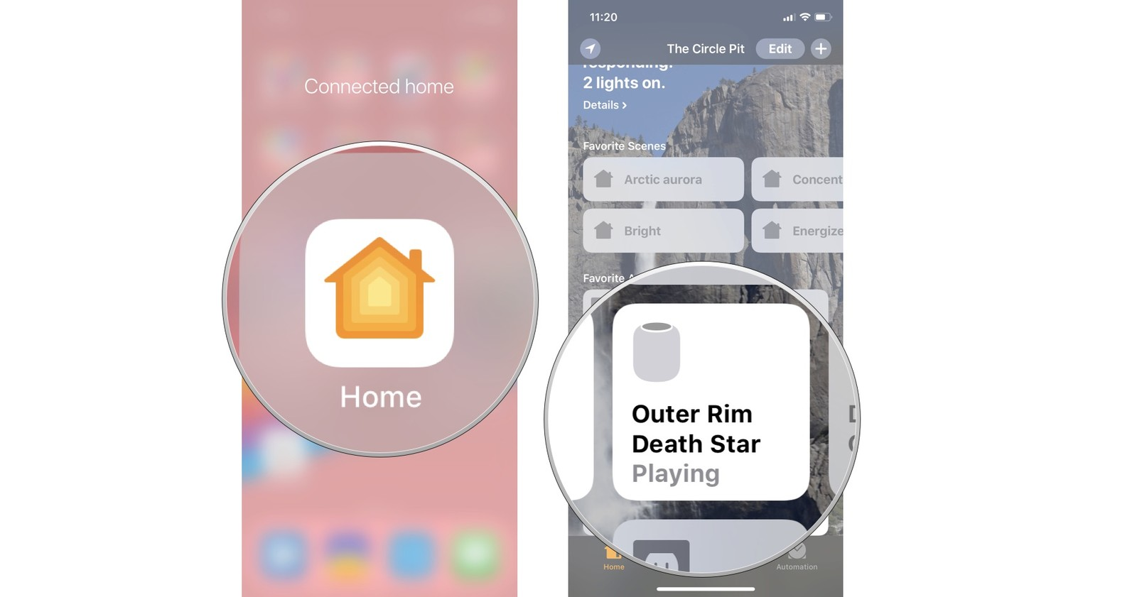Launch the Home app, then long press on your HomePod